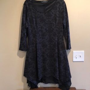 Ice Silk Black Sweater Dress with Handkerchief hem